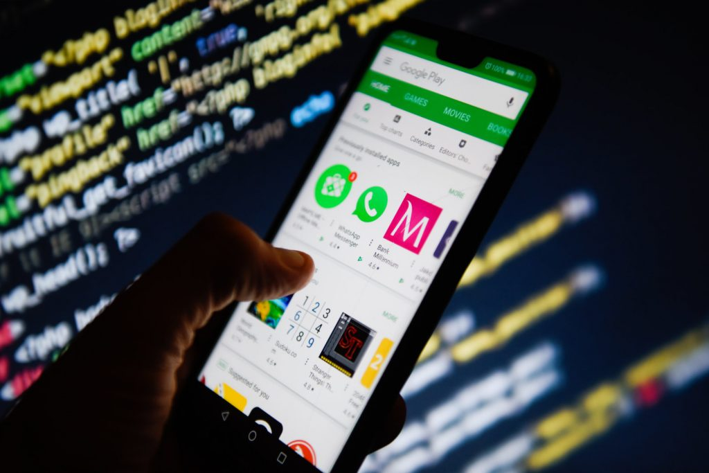 Google Play Store app is seen on an android mobile phone