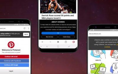 Opera за Android ще ви отърве от досадните разрешения за бисквитки