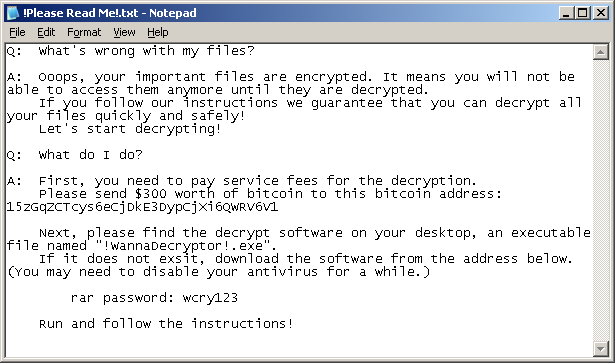 WannaCry note