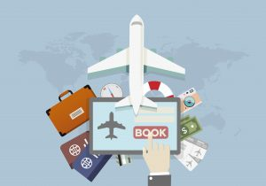 illustration of a vacation and travel booking concept, hand over tablet presses book button, eps10 vector